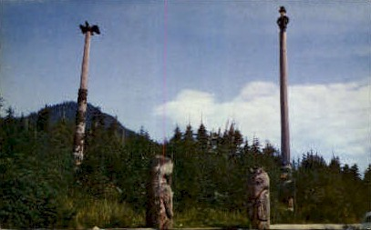 Abraham Lincoln Totem Pole - Misc, Washington WA Postcard