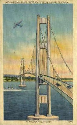 Narrows Bridge   - Misc, Washington WA Postcard