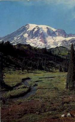 Mount Rainier and Paradise Valley - Mt Rainier, Washington WA Postcard