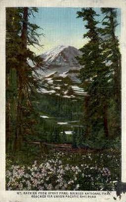Mt. Rainier from Spray Park - Rainier National Park, Washington WA Postcard