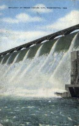 Spillway, Grand Coulee Dam - Misc, Washington WA Postcard