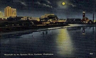 Moonlight on the Spokane River - Washington WA Postcard