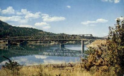 Bridge over Lake Roosevelt - Kettle Falls, Washington WA Postcard