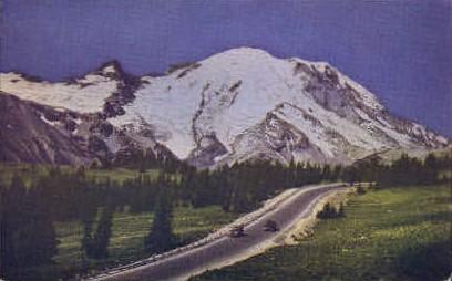 Snow Covered Mt. Rainier - Mt Rainier, Washington WA Postcard