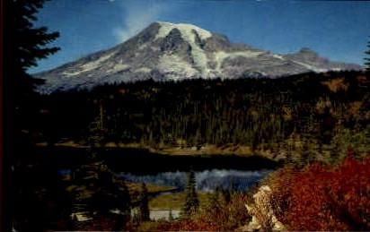 Mt. Rainier and Reflection Lake - Mt Rainier, Washington WA Postcard