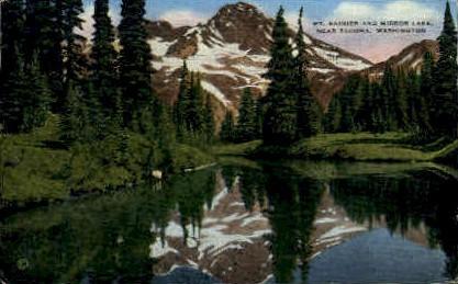 Mt. Rainier and Mirror Lake - Mt Rainier, Washington WA Postcard