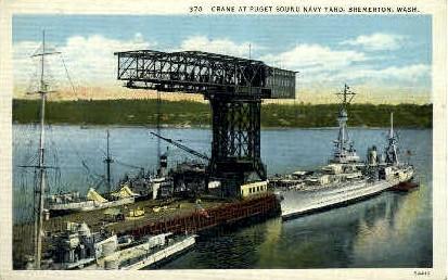 Crane at Puget Sound Naval Yard - Bremerton, Washington WA Postcard
