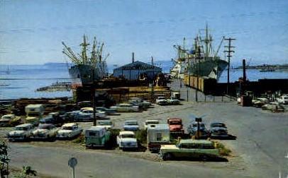 Ocean Going Freighters - Everett, Washington WA Postcard