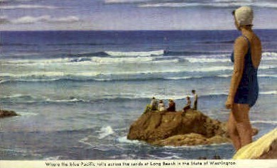 The Blue Pacific  - Long Beach, Washington WA Postcard