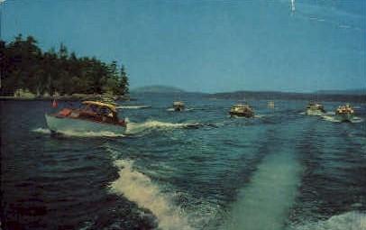 Motor Boating - San Juan Islands, Washington WA Postcard