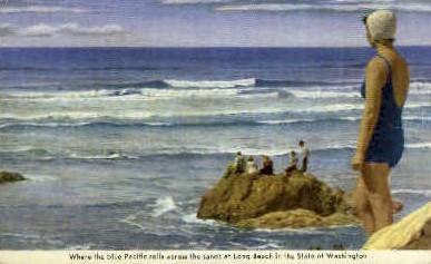 The Blue Pacific Rolls - Long Beach, Washington WA Postcard