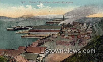 Water Front - Everett, Washington WA Postcard