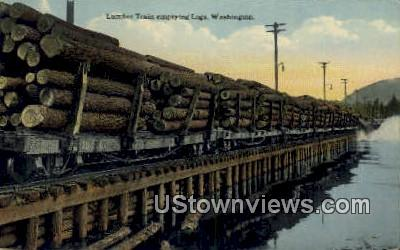 Lumber Train, Logs - Misc, Washington WA Postcard