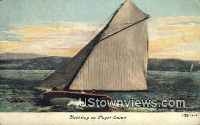 Yachting - Puget Sound, Washington WA Postcard