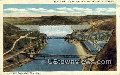 Columbia River - Grand Coulee Dam, Washington WA Postcard
