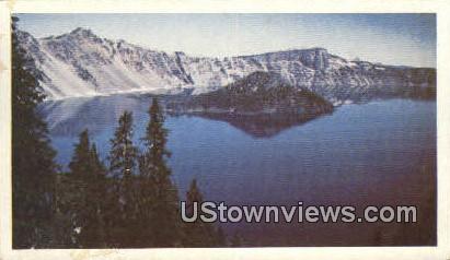 Mysterious Wizard Island - Crater lake, Washington WA Postcard