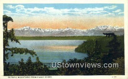 Olympic Mountains - Puget Sound, Washington WA Postcard