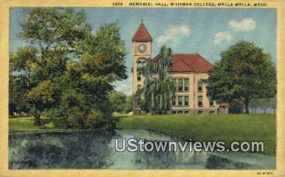 Memorial Hall, Whitman College - Walla Walla, Washington WA Postcard
