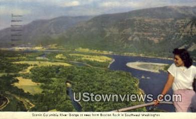 Columbia River Gorge - Beacon Rock, Washington WA Postcard