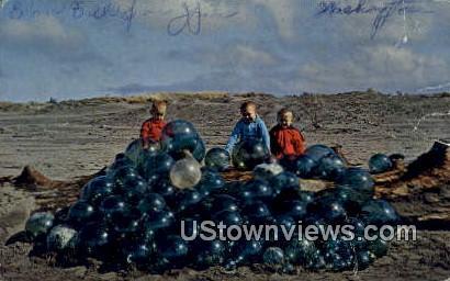 Japanese Glass Balls - Columbia River, Washington WA Postcard