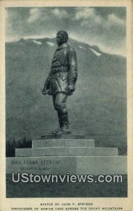 Statue of John F Stevens - Rocky Mountains, Washington WA Postcard