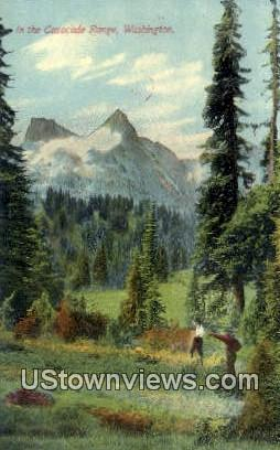 Cascade Range, WA     ;     Cascade Range, Washington Postcard