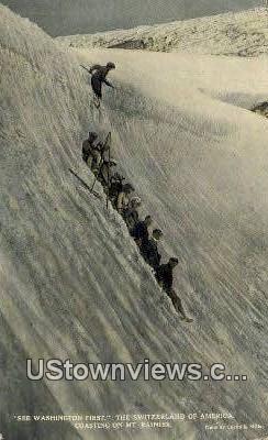 Mountain Climbing - Mt Rainier, Washington WA Postcard