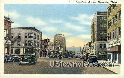 Wenatchee Ave - Washington WA Postcard