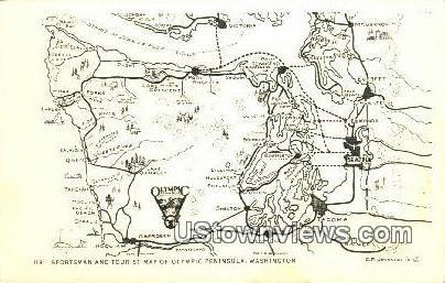 Sportsman & Tourist Map - Olympic Peninsula, Washington WA Postcard