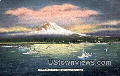 Battleships - Puget Sound, Washington WA Postcard