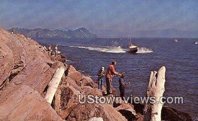 Fishing - North Jetty, Washington WA Postcard