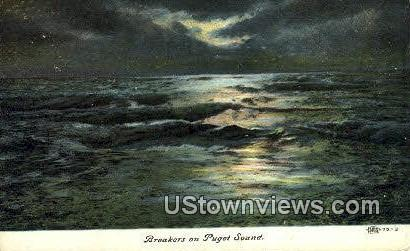 Breakers - Puget Sound, Washington WA Postcard
