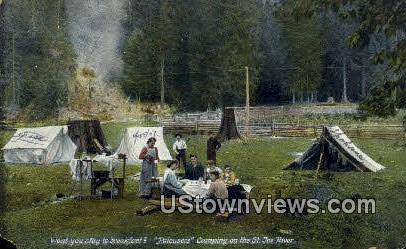 Palousers Camping - St Joe River, Washington WA Postcard