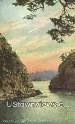 Canoe Pass - Puget Sound, Washington WA Postcard