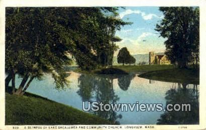 Lake Sacajawea & Community Church - Longview, Washington WA Postcard
