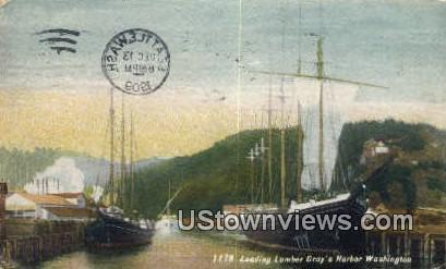 Loading Lumber - Grays Harbor, Washington WA Postcard