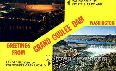 Grand Coulee Dam, WA     ;     Grand Coulee Dam, Washington Postcard
