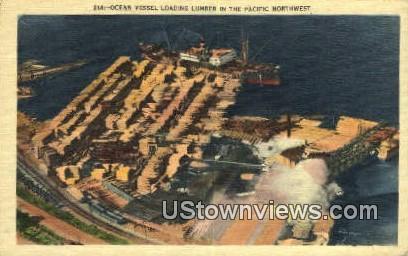 Ocean Vessel, Lumber - Pacific Northwest, Washington WA Postcard