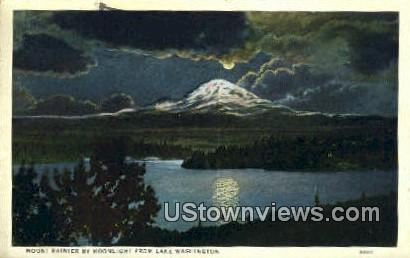 Mount Rainier - Lake Washington Postcards, Washington WA Postcard