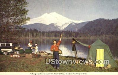 Fishing & Camping - Mount Baker, Washington WA Postcard
