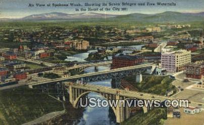 Seven Bridges, Five Waterfalls - Spokane, Washington WA Postcard