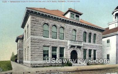 Thurston County Court House, City Hall - Olympia, Washington WA Postcard