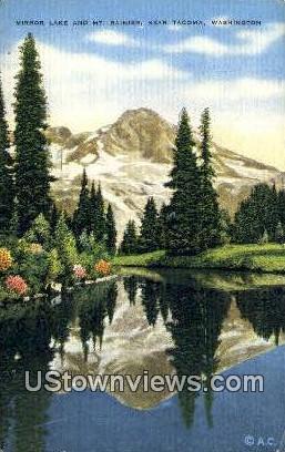 Mirror Lake - Mt Rainier, Washington WA Postcard