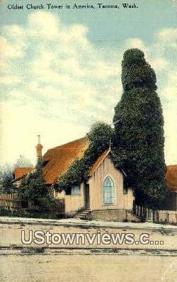 Oldest Church Tower - Tacoma, Washington WA Postcard
