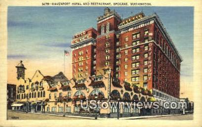 Davenport Hotel & Restaurant - Spokane, Washington WA Postcard