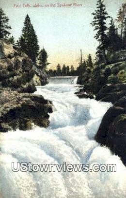 Post Falls - Spokane River, Washington WA Postcard