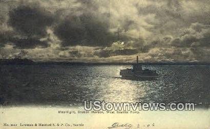 West Seattle Ferry - Seattle Harbor, Washington WA Postcard