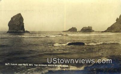 Real Photo - Sugar Loaf Rock - Needles North Beach, Washington WA Postcard