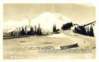 Real Photo - Yakima Park Highway - Mt Rainier, Washington WA Postcard