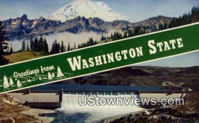 Greetings from, WA     ;     Greetings from, Washington Postcard